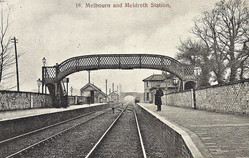 MELDRETH - Opened in August 1851 on the Hitchin - Cambridge line, Meldreth is a typical GNR country station - minimal facilities, every expense spared. It lies equidistant between the villages of Meldreth and Melbourn, both of which have expanded hugely since the station opened. Now electrified and modernised, much of the original building is still in use and handles about 250,000 passengers a year.