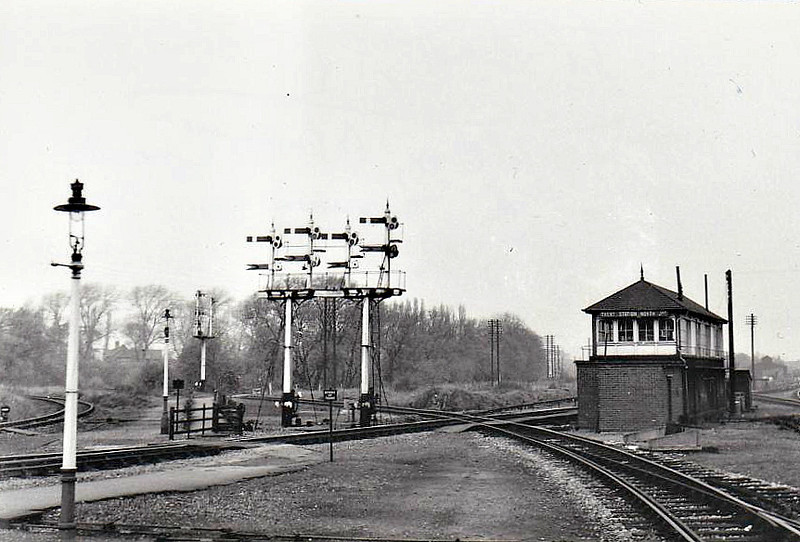 TRENT JUNCTION - Trent Station North Signalbox seen from the station in 10/64 - note the fine Midland Railway signal gantry. At this time, Trent must have been one of the busiest and most complex junctions in the country.