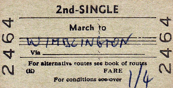 BRITISH RAILWAYS TICKET - MARCH - Second Class Single to Wimblington - fare 1s 4d - dated December 17th, 1964.