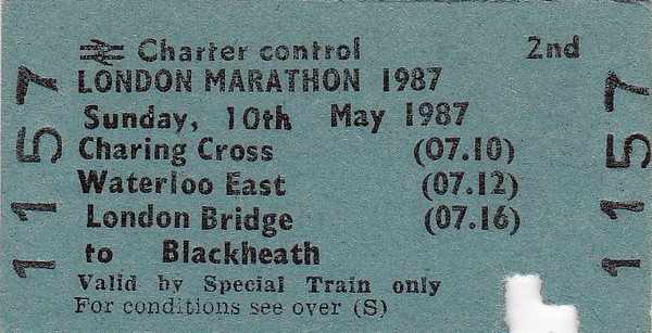 BR EDMONDSON TICKET - LONDON MARATHON 1987 - This ticket appears to have been valid from Charing Cross, Waterloo East or London Bridge to Blackheath. Being so early, perhaps it was for competitors