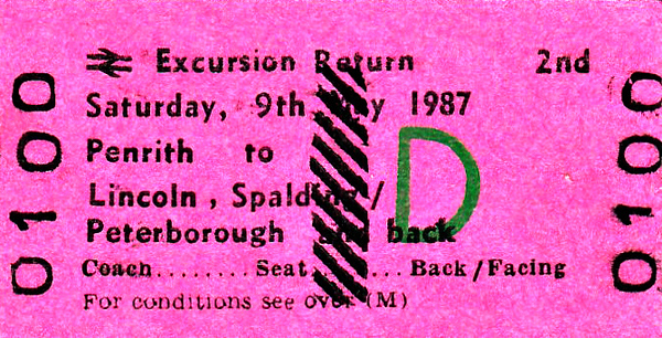 BR EDMONDSON TICKET - PENRITH to LINCOLN, SPALDING and PETERBOROUGH - Second Class BR Day Excursion taking in Spalding Flower Festival. This is a specimen ticket and this exact train may not have run. Certainly, on this date, May 9th, 1987, 47528 headed an excursion along this route from Carlisle.