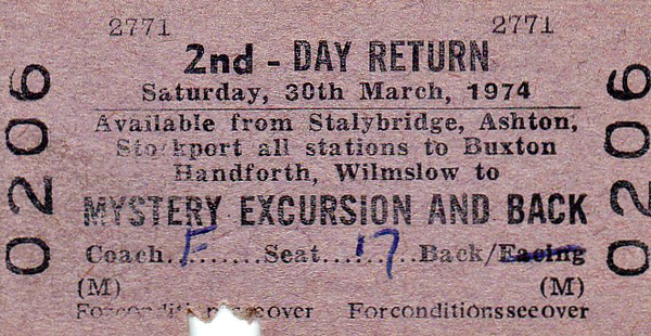 BR EDMONDSON TICKET - MANCHESTER AREA STATIONS (plus all stops to BUXTON) - Second Class Mystery Excursion on March 30th, 1974 - wonder where they went? I'm presuming that the Buxton line passengers joined at Stockport.
