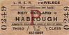 LNER TICKET - NEW HOLLAND to HABROUGH - Third Class Privilege Single.