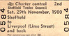 BR EDMONDSON TICKET - SHEFFIELD TRADES COUNCIL - SHEFFIELD - Second Class Day Return to Liverpool Lime Street, November 29th, 1980. They certainly weren't going for the sun, sand and sea!