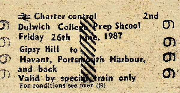 BR EDMONDSON TICKET - DULWICH COLLEGE PREP SCHOOL - GIPSY HILL - Second Class Day Excursion to Havant and Portsmouth Harbour, Friday June 26th, 1987. Specimen ticket.
