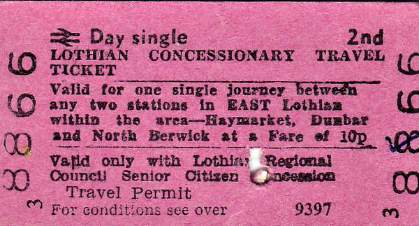 BR EDMONDSON TICKET - LOTHIAN CONCESSIONARY TRAVEL TICKET -Valid for one Senior Citizen single journey between any two stations in East Lothian within the area Haymarket/Dunbar/North Berwick.