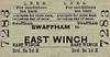 LNER TICKET - SWAFFHAM - Third Class Single to East Winch, fare 2s 1d - dated March 31st, 1962.