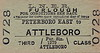 LNER TICKET - PETERBOROUGH EAST to ATTLEBOROUGH - Third Class Furlough Single, undated.