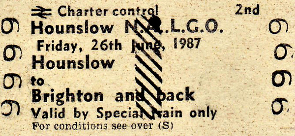 BR EDMONDSON TICKET - HOUNSLOW NALGO (National & Local Government Officers' Association) - HOUNSLOW - Second Class Day Excursion to Brighton, June 26th, 1987. Specimen ticket.