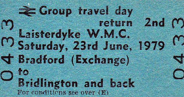 BR EDMONDSON TICKET - LAISTERDYKE WORKING MENS CLUB - BRADFORD EXCHANGE - Second Class Group Travel Day Return to Bridlington, Saturday June 23rd, 1979. Outings like this are a thing of the past today.