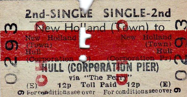BR EDMONDSON TICKET - NEW HOLLAND TOWN - Second Class Single to Hull (Corporation Pier), via 'The Ferry', fare 12 pence - dated June 22nd, 1974. The bridge opened 7 years later and that was the end of the ferry service. All BR tickets that I have seen that include the Humber ferry crossing in their journey carry this red band