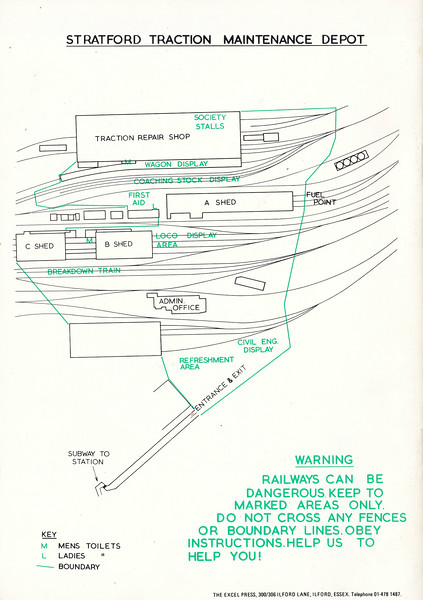 OPEN DAY - STRATFORD TRACTION MAINTENANCE DEPOT, 1981 (5) - A map and plan of the TMD. When you were bunking the depot on a Saturday afternoon, the walk from the subway to the depot itself felt like crossing No Man's Land and always elicited an audible sigh of relief is successfully negotiated!