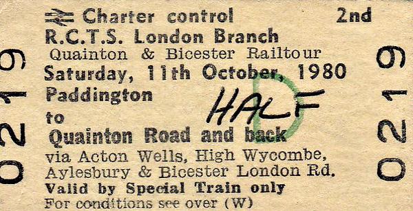 RAIL TOUR - 'PXFORD & BICESTER RAILTOUR' - Organised by the RCTS, this tour ran on October 11th, 1980, using 3-car Class 117 DMU 51375/59485/51333. the route followed was:-  London Paddington - Old Oak Common West Jn - Greenford East Jn - Greenford South Jn - Drayton Green - Ealing Broadway - Acton Mainline - Acton Wells Jn - Neasden Jn - Neasden South Jn - Wembley Hill - Northolt Park - Northolt Jn - West Ruislip - High Wycombe - Princes Risborough - Aylesbury - Quainton Road - Calvert - Claydon LNE Jn - Bicester London Road - Bicester Exchange Sidings - Bicester MoD Sidings - Bicester Exchange Sidings - Bicester London Road - Islip - Oxford - Islip - Bicester London Road - Claydon LNE Jn - Bletchley Flyover - Fenny Stratford - Milbrook - Bedford St Johns Jn - Bedford (Midland) - Luton - St Albans - Mill Hill Broadway - Silkstream Jn - Hendon - Brent Jn - Dudding Hill Jn - Neasden Jn - (reverse of outward route) - London Paddington.