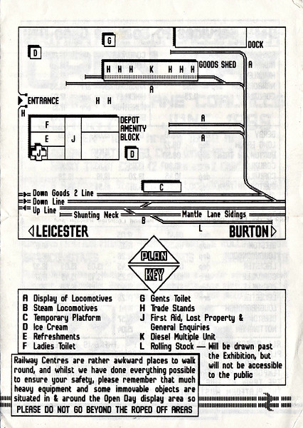 OPEN DAY - COALVILLE FREIGHT DEPOT, 1985 (2) - A map of Mantle Lane Depot, taken from the 1989 Programme as it was the best one (no point putting them all in! - they're all the same). As can be seen, the depot was only very small and had no fuelling points or resident fitters. Nevertheless, Open Days would see quite a lot of exhibits packed in there and a very healthy public response.