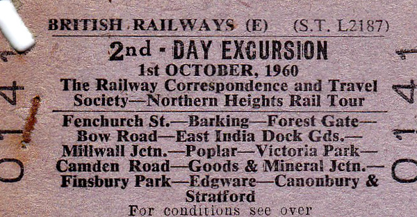 RAIL TOUR - 'NORTHERN HEIGHTS RAIL TOUR' - An RCTS tour on October 1st, 1960, visiting various dock branches and freight lines north of the river. Due to all the twists and reverses involved, 3xClass 101 DMU's provided the transport, probably quite a novelty at that time.