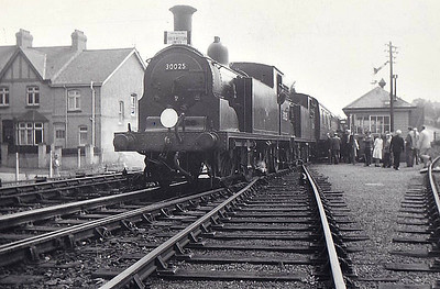 RAIL TOUR - 'SOUTH WESTERN LIMITED' - organised by the Southern Counteis Touring Society and run on September 2nd, 1962, to celebrate the passing of the 'Lord Nelson' Class. 30025 is seen here at Budleigh Salterton with sister 30024. The tour ran as follows:-  30861 - London Waterloo - Clapham Junction - Earlsfield - Wimbledon - Surbiton - Woking - Basingstoke - Andover Jn - Salisbury - Gillingham - Yeovil Junction - Axminster - Sidmouth Junction 30024/30025 - Sidmouth Junction - Tipton St. Johns - Budleigh Salterton - Exmouth - Topsham - Exeter Central 30861 - Exeter Central - Sidmouth Jn - Axminster - Yeovil Junction - Gillingham - Salisbury 30309 - Salisbury - Andover Jn - Fullerton - Romsey - Redbridge - Southampton Central - Eastleigh 30770 - Eastleigh - Winchester City - Basingstoke - (reverse of outward route) - London Waterloo