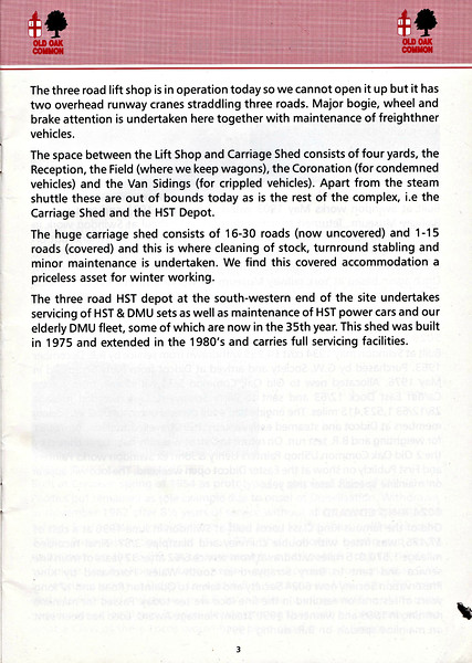 OPEN DAY - OLD OAK COMMON DIESEL DEPOT, 1991 (4) - Conclusion of the brief history and explanation of the depot's facilities and role as in 1991.