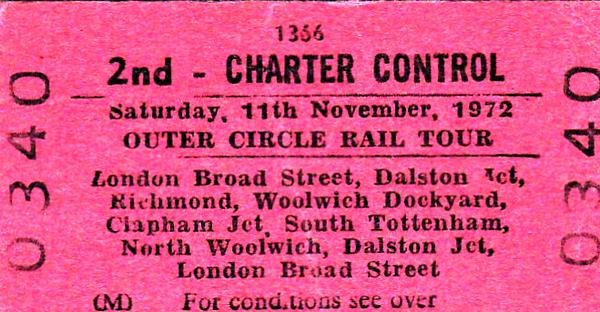 RAIL TOUR - 'OUTER CIRCLE RAIL TOUR' - Run on November 11th, 1972, this tour not surprisingly used two Class 116 3-car DMU's 50849/59068/50114 & 50891/59348/50850. Privately organised by an environmental group, the followed was:-  London Broad Street - Dalston Jn - Camden Road - Gospel Oak - Willesden Junction - Acton Wells Jn - Gunnersbury - Richmond - (via goods line to North Sheen crossing) - Barnes - Clapham Junction - Longhedge Jn - Factory Jn - Brixton - Nunhead - Lewisham - Blackheath - Charlton - Woolwich Dockyard - Charlton - Blackheath - Lewisham - Brixton - Factory Jn - Longhedge Jn - Clapham Junction - Barnes - Kew New Jn - Kew East Jn - Acton Wells Jn - Dudding Hill Jn - Cricklewood - Carlton Road Jn - Junction Road Jn - South Tottenham - Lea Bridge - Channelsea Jn - Stratford (LL) - North Woolwich - Stratford (LL) - Victoria Park - Dalston Western Jn - London Broad Street