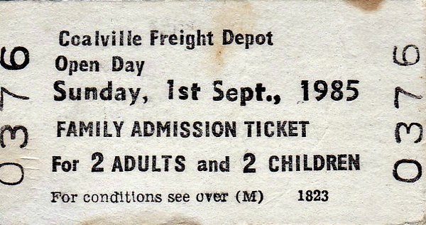 OPEN DAY - COALVILLE FREIGHT DEPOT, 1985 (1) - Family Ticket for the Open Day at Mantle Lane Sidings, Coalville, Sunday September 1st, 1985. The line from Leicester to Coalville and Burton opened in 1833 and was closed to passengers in 1964, remaining open for busy coal and aggregates traffic thereafter, the small depot at Mantle Lane closing in 1990, although the line is still well used by aggregates traffic. Being off the beaten track, it was difficult to get to and the Open Days were always very popular, especially as they allowed passenger travel over an otherwise freight only route. Open Day 1985 was the third to be held. 33033/33052 had brought the F&W 'Coalville Slug' Rail Tour from Penzance(!), which was taken on to Matlock by 58018. Most of the other locos had come from nearby, either Derby or Toton, or were preserved.<br /> <br /> Present were:-<br /> <br /> 20104<br /> 25283<br /> 26003<br /> 31200<br /> 33033, 33052<br /> 47050<br /> 50007 SIR EDWARD ELGAR<br /> 55015 TULYAR<br /> 58016, 58018, 58020<br /> 97201 (24061)<br /> 97403 (46035)<br /> D4 GREAT GABLE