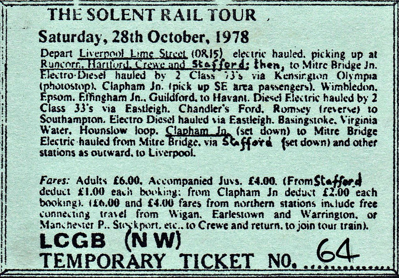 RAIL TOUR - 'SOLENT TOUR No.2' - Organised by the LCGB (NS Branch), this was a very complex tour. Note the fares. £6.00 from Liverpool, £4.00 if you joined at Clapham Junction. The tour ran as 1Z14 with 11 coaches as follows:-<br /> <br /> 86257 Liverpool Lime Street - Runcorn - Hartford - Crewe - Stafford - Mitre Bridge Jn (86101 had been requested). <br /> 73128 + 73113 Mitre Bridge Jn - Latchmere Jn - Clapham Junction - Point Pleasant Jn - Wimbledon - Epsom - Leatherhead - Effingham Junction - Guildford - Haslemere - Petersfield - Havant <br /> 33031 + 33112 Havant - Fareham - Eastleigh - Romsey - Redbridge - Southampton <br /> 73131 + 73129 Southampton - Eastleigh - Winchester - Basingstoke - Woking - Byfleet & New Haw - Virginia Water - Staines - Point Pleasant Jn - Clapham Junction - Mitre Bridge Jn <br /> 86257 Mitre Bridge Jn - (reverse of outward route) - Liverpool Lime Street