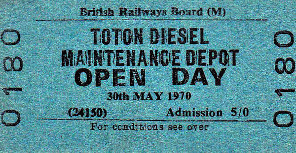 OPEN DAY - TOTON DIESEL DEPOT, 1970 - I never found Toton a difficult depot to get round, as long as you weren't too obvious about what you were doing. Light summer evening seemed to be good time to have a go. I can find no details of what locos were present at this event except for D411 and D7521. As 50011, this was the first Class 50 to be withdrawn in February 1987. D7521 was the supposed accident victim in a re-railing demonstration by Toton's 75-ton steam crane.