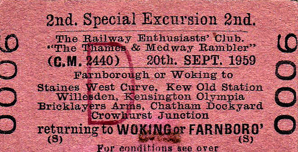 RAIL TOUR - 'THE THAMES & MEDWAY RAMBLER' - Scheduled for September 20th, 1959, this tour was cancelled, reasons not known. It should have visited numerous destinations south of the Thames including Chatham Dockyard with a wide variety of motive power including a Class 71 electric.
