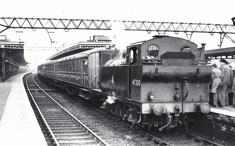 RAIL TOUR - 'EAST LONDON SPECIAL' - organised by the RCTS, this tour ran on April 14th, 1951. The engines used were E8619, 47300 and 64647 but there is some doubt as to which sections of the tour the latter two actually hauled, although here we see 47300 at Stratford which would suggest that it hauled the last leg. The tour ran as follows:-<br /> <br /> E8619 - Fenchurch Street - Stepney East - Salmonds Lane Jn - Gas Factory Jn - Bromley - Abbey Mills Upper Jn - Abbey Mills Lower Jn - Canning Town - Custom House - North Woolwich<br /> 64647 - North Woolwich - Custom House - Canning Town - Abbey Mills Lower Jn - Stratford Market - Stratford Southern Jn - Stratford Western Jn - Bow Jn - Gas Factory Jn - Stepney East<br /> 47300 - Stepney East - Gas Factory Jn - Bromley - Abbey Mills Upper Jn - East Ham - Woodgrange Park - Forest Gate Jn - Stratford