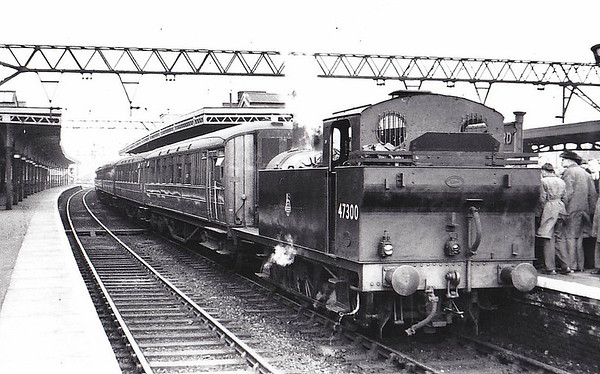 RAIL TOUR - 'EAST LONDON SPECIAL' - organised by the RCTS, this tour ran on April 14th, 1951. The engines used were E8619, 47300 and 64647 but there is some doubt as to which sections of the tour the latter two actually hauled, although here we see 47300 at Stratford which would suggest that it hauled the last leg. The tour ran as follows:-  E8619 - Fenchurch Street - Stepney East - Salmonds Lane Jn - Gas Factory Jn - Bromley - Abbey Mills Upper Jn - Abbey Mills Lower Jn - Canning Town - Custom House - North Woolwich 64647 - North Woolwich - Custom House - Canning Town - Abbey Mills Lower Jn - Stratford Market - Stratford Southern Jn - Stratford Western Jn - Bow Jn - Gas Factory Jn - Stepney East 47300 - Stepney East - Gas Factory Jn - Bromley - Abbey Mills Upper Jn - East Ham - Woodgrange Park - Forest Gate Jn - Stratford