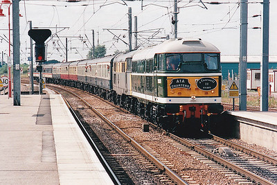 RAIL TOUR - 'FAREWELL TO ARMS' - organised by A1A Tours and run on August 21st, 1999. 31110 and 31154 are seen heading north through Ely. The tour ran as follows:-  31110/31154 - London Kings Cross - Hertford North - Stevenage - Royston - Cambridge - Ely - Thetford - Norwich 37513/37713 - Norwich - Reedham - Lowestoft 31110/31154 - Lowestoft - Reedham - Wensum Jn - Trowse Swing Bridge Jn - Ipswich - Colchester - Stratford - London Liverpool Street