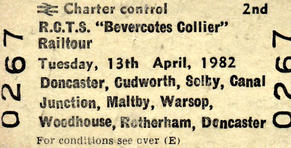 RAIL TOUR - 'THE BEVERCOTES COLLIER' - Organised by the RCTS, this tour ran using 2-car Class 101 50218/56407 and 4-car Class 124 52099/59837/59819/51952. It ran via Doncaster - Hexthorpe Jn - Mexborough - Wath - Stairfoot Jn - Oakenshaw South Jn (1) - Cudworth - Royston Jn - Crofton East Jn - Pontefract Monkhill - Ferrybridge North Jn - Milford Jn - Gascoigne Wood Jn - Selby West Jn - Selby - Selby Canal Jn - Joan Croft Jn - Stainforth - Kirk Sandall Jn - Low Ellers curve - St Catherines Jn - Firbeck - Maltby Colliery - Brancliffe East Jn - Shireoaks - Elmton & Cresswell - Shirebrook North - Boughton Jn - Bevercotes - Elmton & Cresswell - Clowne - Seymour Jn - Staveley - Hall Lane Jn - Foxlow Jn - Beighton Jn - Rotherwood - Darnall - Rotherham Central - Mexborough - Doncaster.