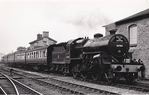 RAIL TOUR - 'FENSMAN No.2' (2) - 42784 - Hughes LMS Class 5F Crab 2-6-0 - built 09/27 by Crewe Works as LMS No.13084 - 11/35 to LMS No.2784, 07/48 to BR No.42784 - 12/62 withdrawn from 21A Saltley - seen here at Luffenham Junction on the return journey to Nottingham Midland with the RCTS 'The Fensman No.2' Railtour, 09/09/56.