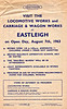 "OPEN DAY - EASTLEIGH WORKS, 1963 (1) - Held on August 7th, 1963, admission 1/-. What would I have given to be there? I'd like to see a picture of the 'Railway Queen'! Amongst the locos in attendance were:-<br /> <br /> Class A1 0-6-0T No. 54 ""Waddon""<br /> Class T9 4-4-0 120<br /> Class A1X 0-6-0T 32635, 32661<br /> Class WC/BB 4-6-2 34021, 34044, 34084<br /> Class USA 0-6-0T 30064<br /> Class V 'Schools' 4-4-0 30923<br /> Class U1 2-6-0 31895, 31901<br /> Class N 2-6-0 31866, 31872<br /> Class Q1 0-6-0 33005<br /> Class U 2-6-0 31805<br /> Class N1 2-6-0 31877, 31878, 31880<br /> Class Q 0-6-0 30548<br /> Class MN 4-6-3 35024, 35027<br /> Class 5 4-6-0 73029<br /> Class 4 2-6-0 76010, 76055<br /> Class 0298 2-4-0T 30586"