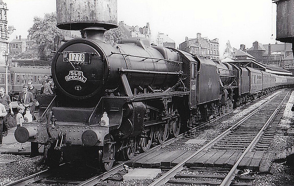 RAIL TOUR - 'FAREWELL TO STEAM (1)' - organised by the Stephenson Locomotive Society, the tour ran on August 4th, 1968 as 1Z78. 44871 is seen here piloting 44894 at Wigan Wallgate. The tour ran as follows:-  E3093 - Birmingham New Street – Soho – ??? – Stafford – Stoke-on-Trent - Stockport D7588 - Stockport – Droylesden – Manchester Victoria 44871/44894 - Manchester Victoria – Diggle – Huddersfield – Sowerby Bridge – Copy Pit – Blackburn – (via Bolton avoiding line) – Wigan Wallgate – Kirkby – Bootle – Stanley – Rainhill – Barton Moss – Manchester Victoria – Droylesden – Stockport E3093 - Stockport – Crewe - Stafford – Soho – Birmingham New Street