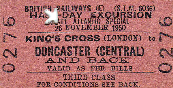 RAIL TOUR - 'IVATT ATLANTIC SPECIAL' - Run by BR on November 26th, 1950, to mark the withdrawal of the last Ivatt Atlantic in traffic. The train was hauled northbound by 62822, which was removed at Doncaster and withdrawn to the Works. Her place was taken, appropriately, by 60123 HA IVATT for the return journey. A tour of Doncaster Works was included.