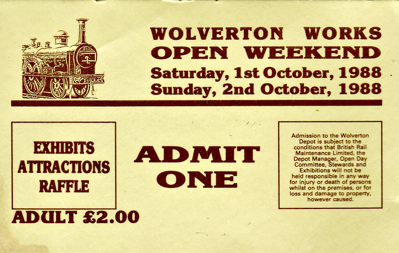 OPEN DAY - WOLVERTON WORKS, 1988 - This Open Weekend was to celebrate Wolverton Works' 150th Anniversary on October 1st/2nd, 1988. 08011 was the oldest loco in service at that time on BR and based at the oldest railway works still in operation in the world. The class 58 and 90 were almost new.<br /> <br /> Present were:-<br /> <br /> Diesel<br /> 08011, 08484, 08629<br /> 55016 GORDON HIGHLANDER<br /> 58010<br /> <br /> Electric<br /> 90007<br /> <br /> EMU<br /> 304023<br /> 305418/522/528<br /> 306017<br /> 310069/076/078/102/103/104<br /> 312204/730/781/793<br /> 313014<br /> 315836<br /> 317347<br /> 65459/77180 Manchester - Bury Class 504<br /> <br /> DMU<br /> 51914/54279 Bletchley Class 108<br /> 53359/54122 Green Norwich Class 105