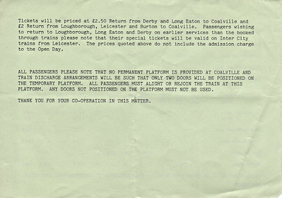 OPEN DAY - COALVILLE FREIGHT DEPOT, 1986 (5) - All the usual disclaimers and warning. Loading and unloading passengers from a 6-car slam-door DMU set, 2 doors at a time, must have been interesting to say the least.