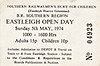 OPEN DAY - EASTLEIGH WORKS, 1974 - Held on May 5th, 1974, admission now gone up to 15p (3/-). A special was worked into the depot by 92203 BLACK PRINCE on the day. Stock in attendance was:-<br /> <br /> Diesel<br /> 07002<br /> 08831<br /> 33013<br /> 33025<br /> 47xxx<br /> <br /> Steam<br /> 35028 CLAN LINE<br /> <br /> EMU<br /> De-icing Unit 002 (ex SR 2-HAL/4-LAV))