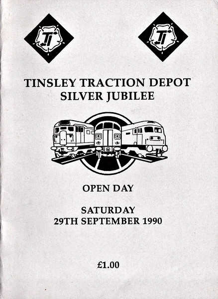 OPEN DAY - TINSLEY DIESEL DEPOT, 1990 (1) - Open Day held on Saturday, September 29th, 1990, to celebrate the Depot's Silver Jubilee. The depot closed in 1998. Locos present were:-<br /> <br /> Diesel<br /> <br /> D2199<br /> 06003<br /> 08509, 08749, 08857, 08878, 08880, 08919<br /> 09008, 09013<br /> 20029, 20043<br /> D7672(25912)<br /> 31547<br /> 37013, 37019, 37029, 37059, 37063, 37070, 37107, 37178, 37185, 37198, 37203, 37414<br /> 45133<br /> 47107, 47120, 47121, 47144, 47145, 47200, 47209, 47229, 47237, 47270, 47293, 47305, 47308, 47332, 47351, 47370, 47375, 47376, 47378, 47412, 47439, 47447, 47485, 47600<br /> 55015, D9000(55022)<br /> 56002<br /> 58050<br /> 59001<br /> 60013<br /> <br /> Electric<br /> <br /> 90050<br /> <br /> Steam<br /> <br /> Class 5MT 4-6-0 44932<br /> <br /> 33042 + 33207 on the 'Sulzer Rose' rail tour from Eastleigh to Sheffield