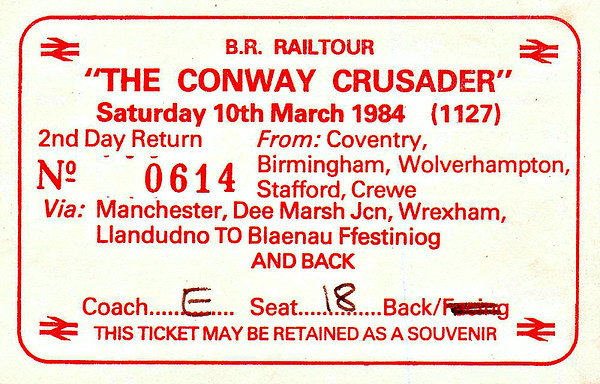 RAIL TOUR - 'THE CONWAY CRUSADER' - Organised by British Railways to run on March 10th, 1984, this tour ran as follows:  86317 Coventry - Birmingham New Street - Crewe - Manchester Piccadilly  40029 Manchester Piccadilly -  Skelton Jn - Arpley - Hooton - Birkenhead Docks - Wrexham General - Chester  40122 Chester - Llandudno Junction - Llandudno  50018 Llandudno - Llandudno Junction - Blaneau Ffestiniog  50018 + 40047 Blaneau Ffestiniog - Llandudno Junction  50018 Llandudno Junction - Chester - Crewe - Birmingham New Street - Coventry.
