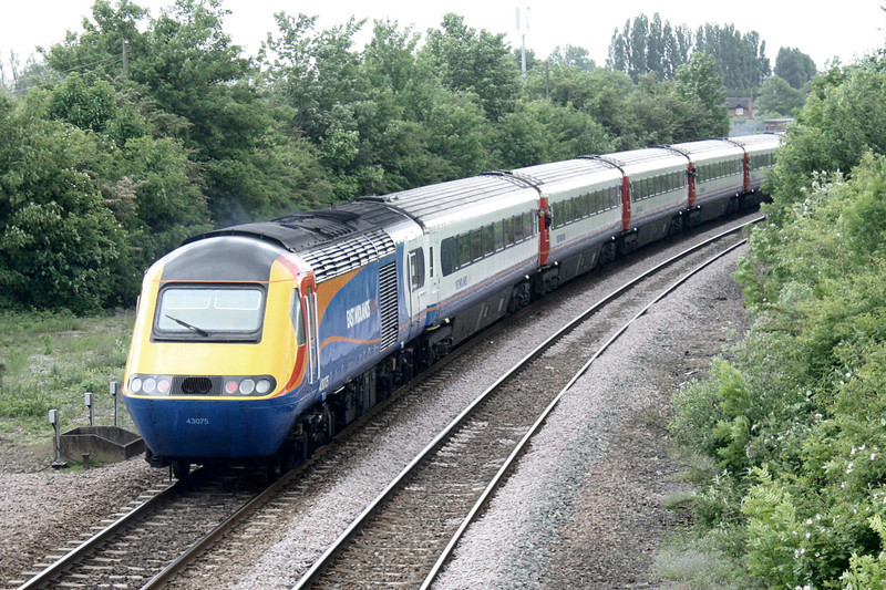 RAIL TOUR - 'MID-NORFOLK MARAUDER' - organised by East Midlands Trains and run on May 14th, 2011. 43075 brings up the rear of 1Z43 0742 St Pancras - Dereham 'Mid Norfolk Marauder'. The tour ran as follows and included return trips over the Mid-Norfolk Railway:-<br /> <br /> 43082 t/t 43075 - London St Pancras - (via MML) - Syston South Jn - Melton Mowbray - Oakham - Stamford - Peterborough - Whittlesea - March - Ely West Jn - Ely North Jn - Ely<br /> 43075 t/t 43082 - Ely - Ely North Jn - Thetford - Wymondham<br /> 43082 t/t 43075 - Wymondham - Thuxton - Dereham<br /> 43075 t/t 43082 - Dereham - Thuxton - Wymondham - Norwich<br /> 43082 t/t 43075 - Norwich - Wymondham - Thetford - Ely North Jn - Ely West Jn - (reverse of outward route) - London St Pancras