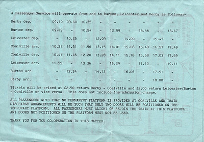 OPEN DAY - COALVILLE FREIGHT DEPOT, 1985 (5) - The timetable for special passenger trains laid on the Open Day. By my reckoning, there are three diagrams here.