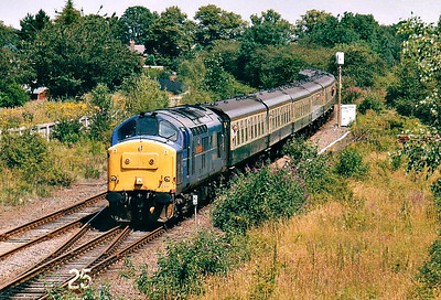 RAIL TOUR - 'FLOWER ARRANGER' - organised by Hertfordshire Rail Tours and run on July 13th, 2002. 37248 LOCH ARKAIG approaches Spalding on the Lincolnshire leg of the tour. The tour ran as follows:-  92022 - Finsbury Park -Hertford North - Stevenage - Peterborough - Newark North Gate 37248 - Newark North Gate - Lincoln Central - Sleaford Avoiding Line - Spalding - Peterborough West Yard 58024 - Peterborough West Yard - March - Ely - Bury St Edmunds - Ipswich -Colchester Up Goods 56007 - Colchester Up Goods - Witham - Stratford - Canonbury West Jn - Finsbury Park