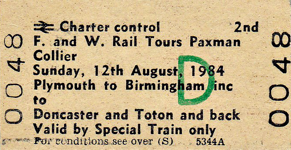 RAIL TOUR - 'PAXMAN COLLIER' - This tour, which covered a fair amount of ground, included a visit to Toton Depot and featured a variety of traction, running as follows:-  47507 - Plymouth – Newton Abbot - Exeter St Davids – Taunton – Bridgwater - Bristol Temple Meads  56044 - Bristol Temple Meads  – Filton Jn - Bristol Parkway – Westerleigh Jn - Charfield - Cheltenham Spa – Abbotswood Jn - Stoke Works Jn - Bromsgrove – Kings Norton – St Andrews Jn – Proof House Jn - Birmingham New Street  58013 - Birmingham New Street – Proof House Jn - Landor Street Jn - Water Orton – (via Nuneaton flyover) – Wigston North Jn – Leicester – Loughborough – Trent East Jn – Nottingham  56068 Nottingham – Netherfield – Bottesford West Jn – Newark Northgate – Doncaster – Shaftholme Jn - Joan Croft Jn - Selby West Jn – York  56068 - York – Church Fenton – Gascoigne Wood Jn – Hambleton South Jn – Temple Hirst Jn – Doncaster – Mexborough – Rotherham – Treeton North Jn – Tinsley – Attercliffe Jn – Sheffield – Dore Station Jn - Chesterfield – Clay Cross South Jn – Pye Bridge Jn – Toton Centre  58006 - Toton Centre – Stapleford & Sandiacre  56068 - Stapleford & Sandiacre – Toton Meadow Sidings 56068 - Toton Meadow Sidings – Stapleford & Sandiacre  58006 - Stapleford & Sandiacre – Trent East Jn – Sheet Stores Jn – Stenson Jn – Tamworth – Water Orton - Landor Street Jn - Proof House Jn - Birmingham New Street  56044 - Birmingham New Street – (reverse of outward route) – Bristol Temple Meads  50049 - Bristol Temple Meads - Weston-Super-Mare – Bridgwater - Taunton – Exeter St Davids – Newton Abbot - Plymouth