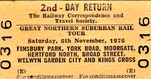 RAIL TOUR - 'GREAT NORTHERN SUBURBAN RAIL TOUR' - Organised by the RCTS, this tour ran on the last day of passenger trains from Finsbury Park to Moorgate and Broad Street. 31183 and 31249 took 6 coaches along the following route:-  31183 - Finsbury Park - London Kings Cross (York Road) - Moorgate  31249 - Moorgate - Kings Cross (Platform 14) - Hertford North  31249 - Hertford North - Finsbury Park - Canonbury - Broad Street  31183 - Broad Street - Finsbury Park - Welwyn Garden City  31183 - Welwyn Garden City - Finsbury Park - London Kings Cross