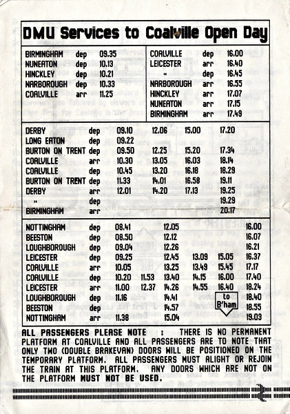 OPEN DAY - COALVILLE FREIGHT DEPOT, 1989 (4) - Timetable of trains for the Open Day. It seems that there were three diagrams worked by DMU's on the day but no details known.