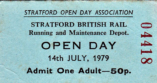 OPEN DAY - STRATFORD DIESEL DEPOT, 1979 - Stratford was always a difficult depot to bunk because of the amount of wasteland - it was difficult to find anything to hide behind! I did manage it on a number of occasions in the late '60's/early '70's though. This official Open Day was held on July 14th, 1979, and was well attended if this ticket number is anything to go by. The Liverpool Street Pilot usually wore an approximation of GER livery. The Class 31/0's were all on the brink of withdrawal, half of the class having gone already.<br /> <br /> Present were:-<br /> <br /> Diesel<br />  03149/161/168/389.<br />  08233/264/315/409/418/440/494/521/532/724/859/930.<br />  08531 (Liverpool street pilot). The HST, TULYAR and the Class 56 had been specially brought in.<br />  31003/004/005/006/008/015/017/019/110/114/133/148/151/182/190/191/241/255.<br />  37060/091/093/120/160/200/215/262/263/265.<br />  40147/176/197.<br />  43095<br />  47003/085/140/156/169/170/289/374.<br />  55015<br />  56018<br /> <br /> Others<br />  ADB968000(D8243)<br />  ADB968013(31013)<br />  313033 (Class 313 EMU)
