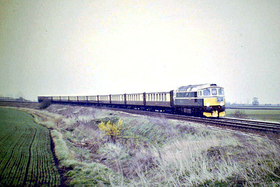 RAIL TOUR - 'VSOE' - few details of this tour run on April 11th, 1987, are known but my picture of 33008 EASTLEIGH approaching Ramsey Road AHB, Whittlesey, was, I believe, taken en route the Nene Valley Railway and I seem to remember following it there.