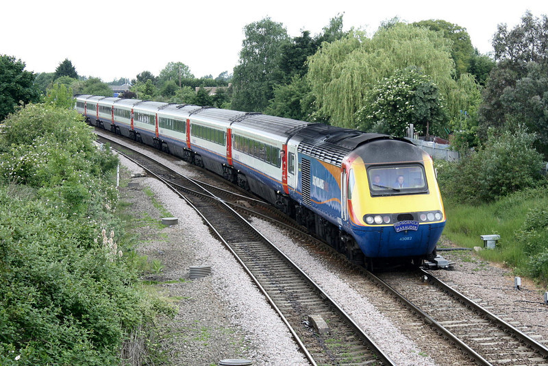 RAIL TOUR - 'MID-NORFOLK MARAUDER' - organised by East Midlands Trains and run on May 14th, 2011. 43082 heads 1Z43 0742 St Pancras - Dereham 'Mid Norfolk Marauder'. The tour ran as follows and included return trips over the Mid-Norfolk Railway:-<br /> <br /> 43082 t/t 43075 - London St Pancras - (via MML) - Syston South Jn - Melton Mowbray - Oakham - Stamford - Peterborough - Whittlesea - March - Ely West Jn - Ely North Jn - Ely<br /> 43075 t/t 43082 - Ely - Ely North Jn - Thetford - Wymondham<br /> 43082 t/t 43075 - Wymondham - Thuxton - Dereham<br /> 43075 t/t 43082 - Dereham - Thuxton - Wymondham - Norwich<br /> 43082 t/t 43075 - Norwich - Wymondham - Thetford - Ely North Jn - Ely West Jn - (reverse of outward route) - London St Pancras
