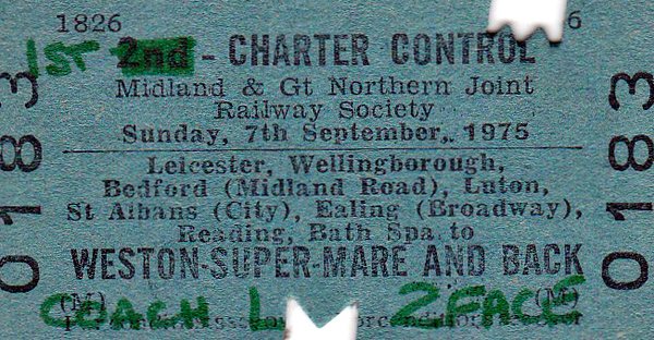 RAIL TOUR - LEICESTER to WESTON SUPER MARE - Organised by the Midland & Great Northern Joint Railway Society, this tour ran on Sunday, September 7th, 1975. I can find few details but presumably it crossed London via the North London Line and Acton. It must have been a long train as this ticket is for Coach L.