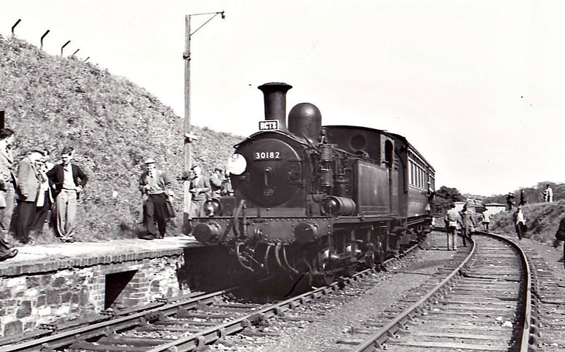 RAIL TOUR - 'BRUNEL CENTENARIAN & PLYMOUTH DISTRICT' - organised and run by the RCTS on May 2nd, 1959 . 30182 is seen here on the Plymstock - Turnchapel Tunnel and Return leg of the tour. The tour ran as follows:-<br /> <br /> Brunel Centenarian - 7001 - London Paddington - Slough - Reading - Southcote Jn - Newbury - Castle Cary - Taunton - Exeter St Davids - Newton Abbot - Totnes - Plymouth North Road - Saltash<br /> Plymouth District - 6420 - Saltash - St Budeaux - (via LSWR connection) - Devonport - Devonport Jn - Millbay - Plymouth - Lipson Jn - Plymouth Friary - Plymstock<br /> Plymouth District - 30182 - Plymstock - Turnchapel Tunnel - Plymstock<br /> Plymouth District - 6420 - Plymstock - Yealmpton - Plymstock - Plymouth Friary - Mount Gould Jn - Laira Jn - Plymouth North Road<br /> Brunel Centenarian - 5069 - Plymouth North Road - (reverse of outward route) - London Paddington